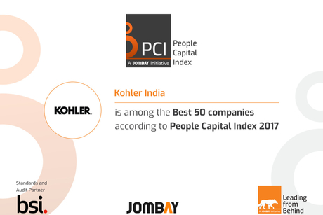 India's first People Capital Index awards Kohler India for being in India's best 50 on talent satisfaction
