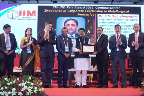 L&T CEO & MD SN Subrahmanyan is conferred IIM-JRD Tata Award