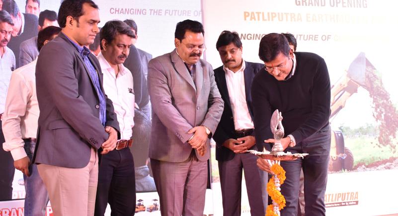 Mr. Raunak Varma lighting the lamp at the Inauguration ceremony of Patliputra Earthmover Pvt. Ltd.