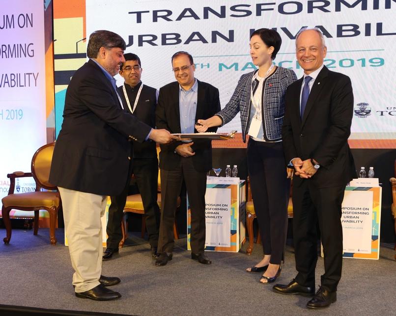 L to R: Manoj Kumar, Praveen Pardeshi, Ajoy Mehta, Annie Dubè, and Professor Meric Gertier, president, University of Toronto, at the Symposium on Transforming Urban Livability.