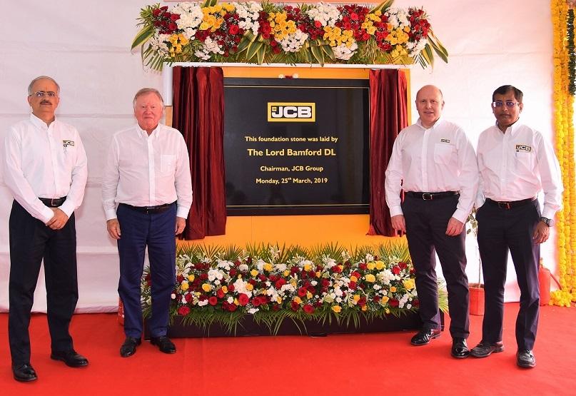 Vipin Sondhi, MD & CEO, JCB India; Lord Bamford, chairman, JCB Group; Mark Turner, COO, JCB Group & Subir Chowdhury, COO, JCB India.