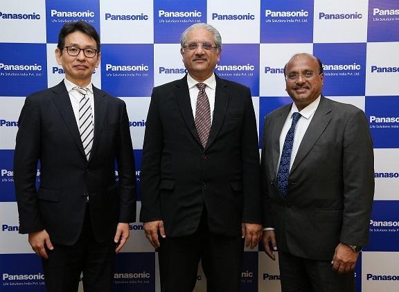 L-R- Tetsuyasu Kawamoto, Vivek Sharma and Dinesh Aggarwal at the unveiling of the new corporate identity  of Panasonic Life Solutions India.