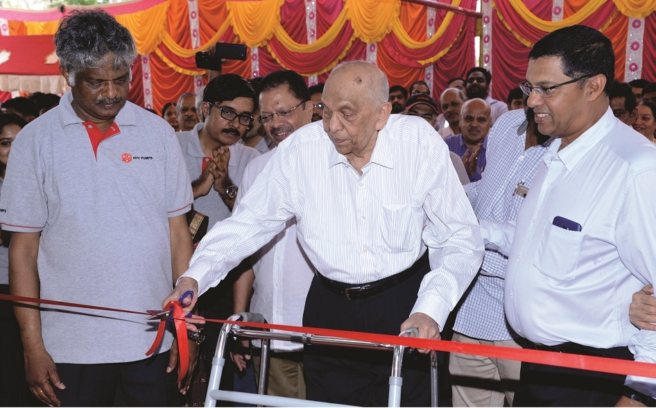SV Narasaiah, founder and chairman of HHV Group  inaugurates the new facility.