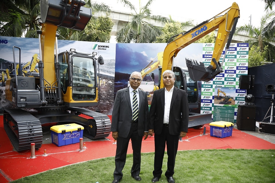 AR Subramanian, executive director (left) with VG Sakthikumar , MD, Schwing Stetter India, at the launch the excavators.