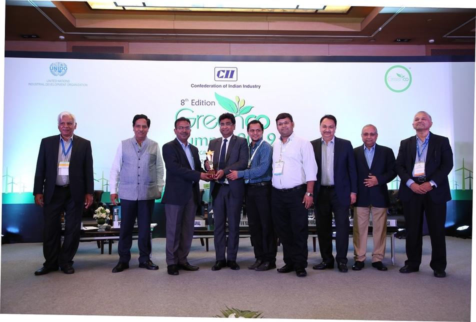 The team from Tata Motors receives the award at CII's GreenCo Summit 2019 held in New Delhi.