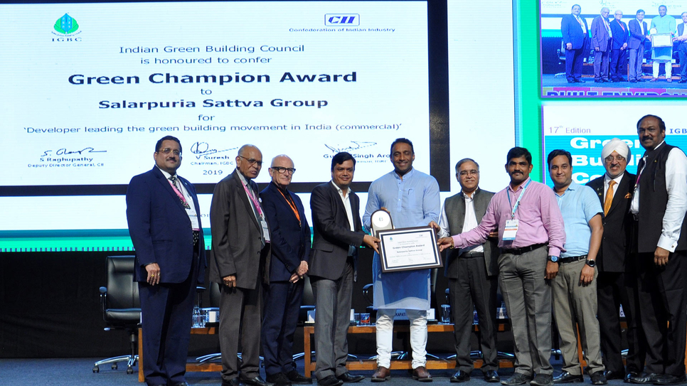 Piyush Agarwal, head, business development, Hyderabad, Salarpuria Sattva Group received IGBC Green Champion award from  Mekapati Goutham Reddy, Hon'ble Minister for Industries, Commerce & Information Technology, Government of Andhra Pradesh.