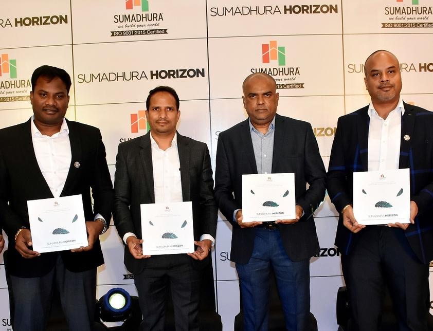 L-R: Naveen G, director, Construction; Madhusudhan G, CMD; Rama Rao, VC; K Bharat, director operations at the launch of Sumadhura Horizon.