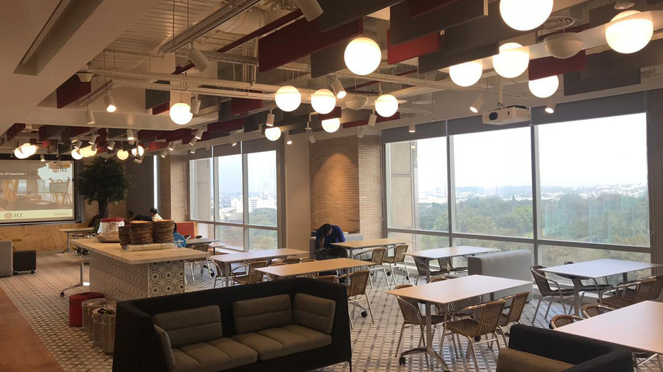 JLL India, TDIM, Bangalore, LEED V4 Platinum, Green Business Certification, GBCI, Energy and water efficient, LEED for Interior Design and Construction, Commercial Interiors, LEED for Interior Design and Construction: Commercial Interiors, Ramesh Nair, George Thomas, JLL Asia Pacific, VOC, Particulate matter, Modern workplaces, P GopalaKrishnan, Enhanced IEQ
