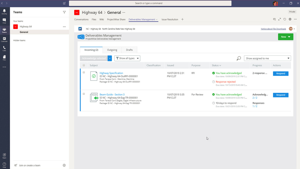 New, instant-on ProjectWise 365 cloud services enable any size design team, project, or firm to leverage digital workflows and Microsoft Teams integration, to accelerate information sharing, design reviews, and contractual exchanges.