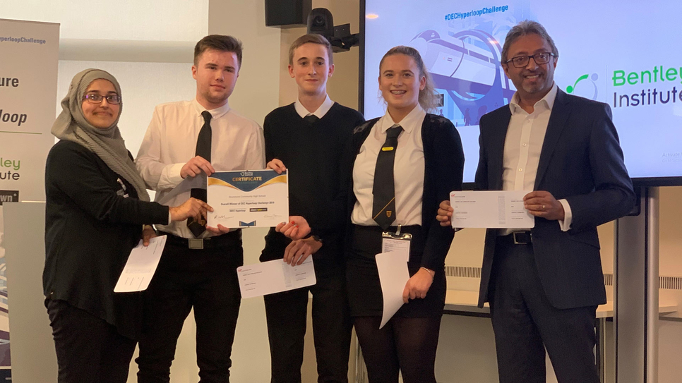 Winners of the 2019 Future Infrastructure Challenge: DEC Hyperloop is the Drummond Community High School Team (Alizah Mughal, Ryan Gordon, Wiktor Rauba, Faye Fulton) with Harj Dhaliwal, Managing Director Middle East & India, Virgin Hyperloop One, who was a member of the judging panel for the event.