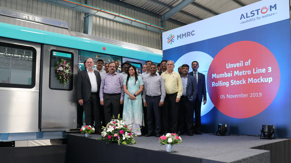 Alain Spohr, Managing Director of Alstom India and South Asia -Left- with Ashwini Bhide, Managing Director of MMRCL--third from left- along with senior official