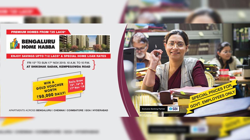Provident Housing, Affordable housing, Puravankara, Bengaluru Home Habba, Home exhibition, Shikshak Sadan, Kempegowda Road, Bangalore, Chennai, Coimbatore, Pune, Hyderabad, Kochi, Goa, State Bank of India