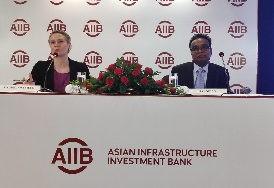 (L-R) Laurel Ostfield, director general & company spokesperson, and DJ Pandian, VP & chief investment officer, AIIB.