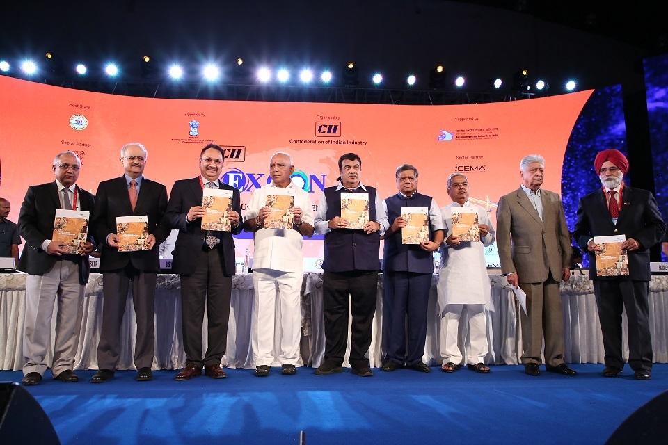 (At Centre) BS Yediyurappa and Nitin Gadkari along with other  dignitaries inaugural of 10th CII EXCON 2019.