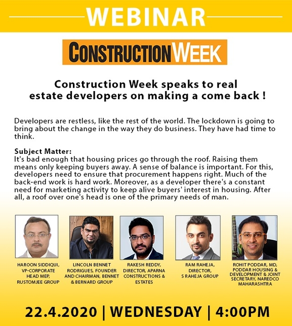 Rakesh Reddy, Aparna Constructions & Estates, Rohit Poddar, Poddar Housing, Haroon Siddiqui, Rustomjee Group, Lincoln Rodrigues, Bennet & Bernard, Goa, Webinar, Real estate developers
