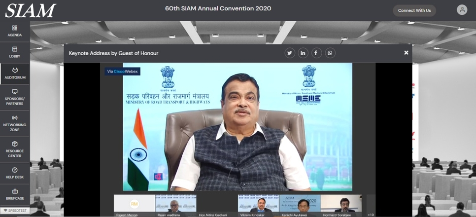 SIAM, Annual Convention, Nitin Gadkari, Vikram Kirloskar, Vinod Aggarwal, VECV, Toyota Kirloskar Motor, Hon'ble Union Minister of Road Transport & Highways and Micro, Small and medium enterprises